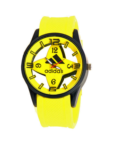 Unisex teens watch in yellow strap.