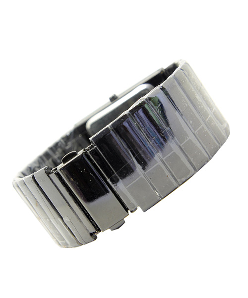 Rectangular all black ladies bracelet watch.