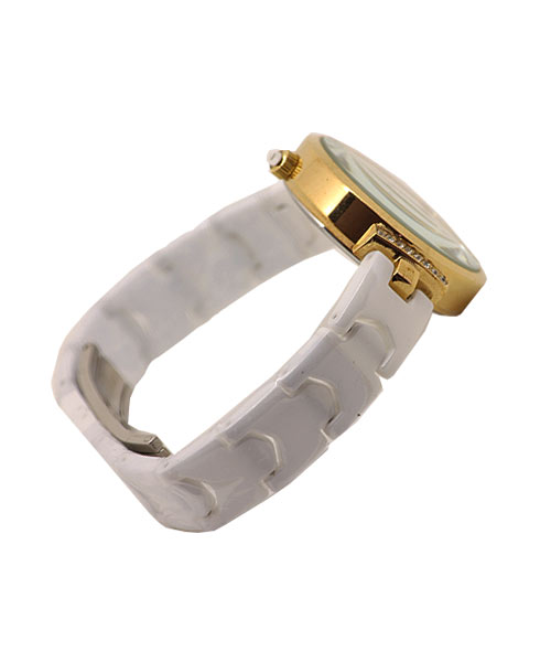 Girls womens wrist watch ceramic strap gold diamond case.