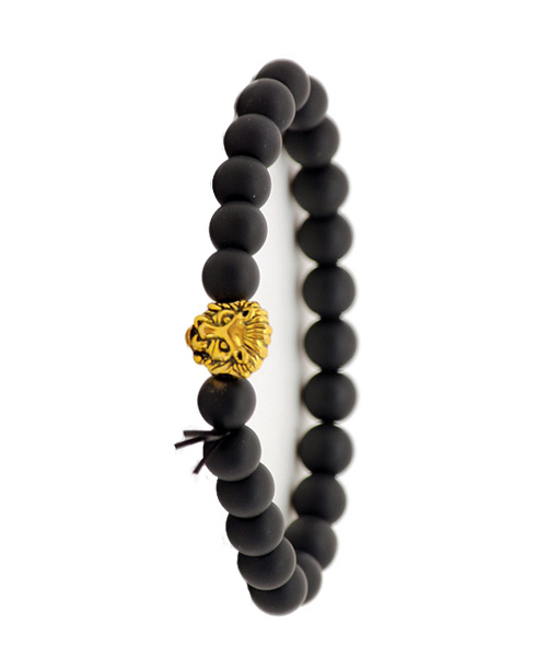Black matt bead gold lion head bracelet.