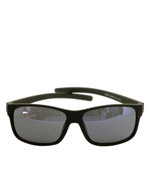 Classic rectangular mens black sunglasses.