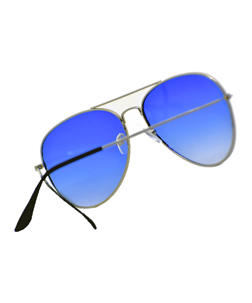 Large blue aviator sunglasses for women.