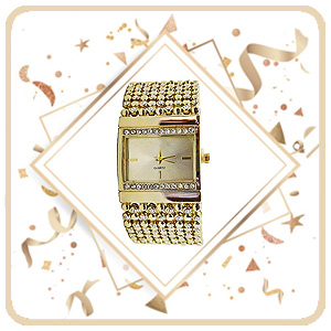 Gold mesh broad bracelet womens watch