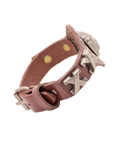 Brown leather bracelet for men boys with bull emblem.