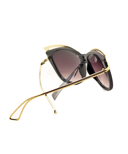 Gradient brown gold butterfly sunglasses for women.