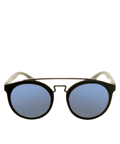 Cat eye double bridge sunglasses in blue lens for women girls.