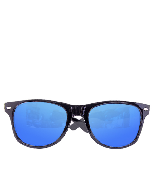 Mens blue mirrored Wayfarer sunglasses.