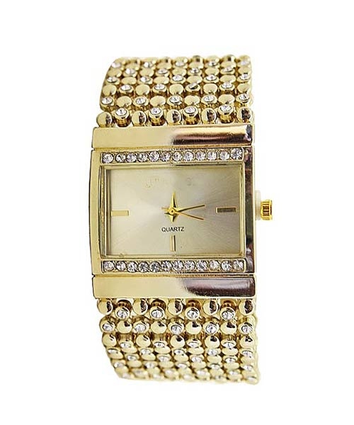 Gold Mesh Diamond Bracelet Watch.