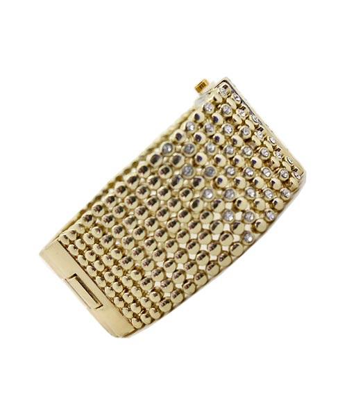 Gold Mesh Diamond Bracelet Watch.