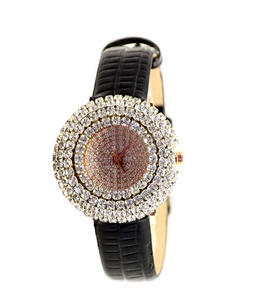 Diamond studded womens girls rose gold watch.