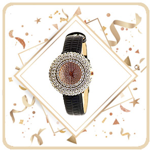 Diamond studded flower gold girls watch
