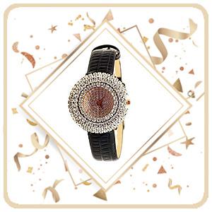 Diamond studded flower gold girls watch