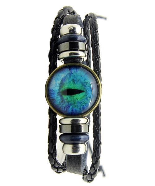 Blue evil eye multi-strand girls bracelet.