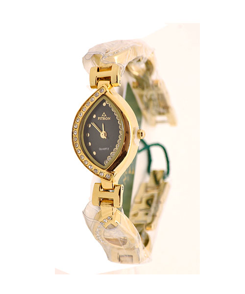 Fitron gold diamond studded girls watch.