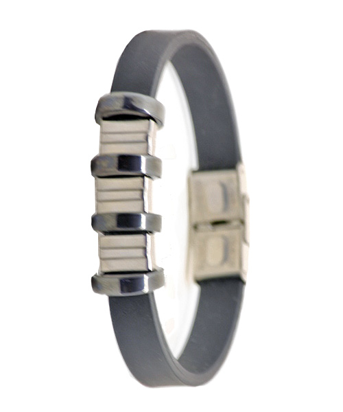 Black silicon bracelet metal rings for boys girls.