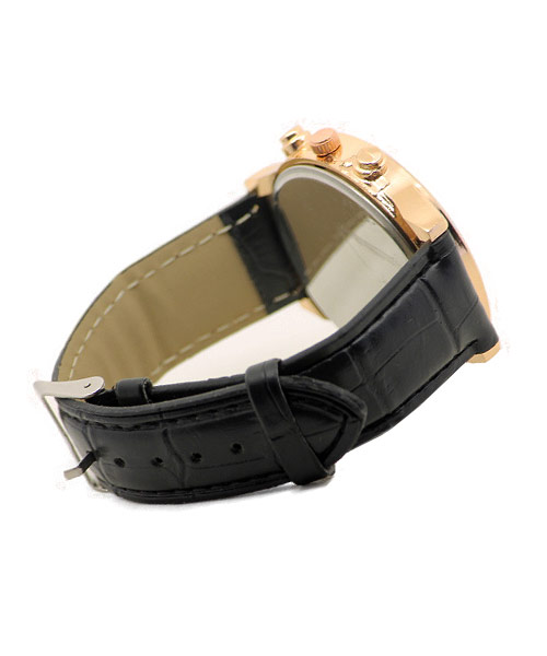 Watches For Men Rose Gold Black Strap.