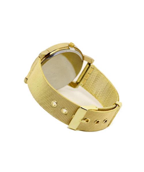 Womens mesh strap gold watch.