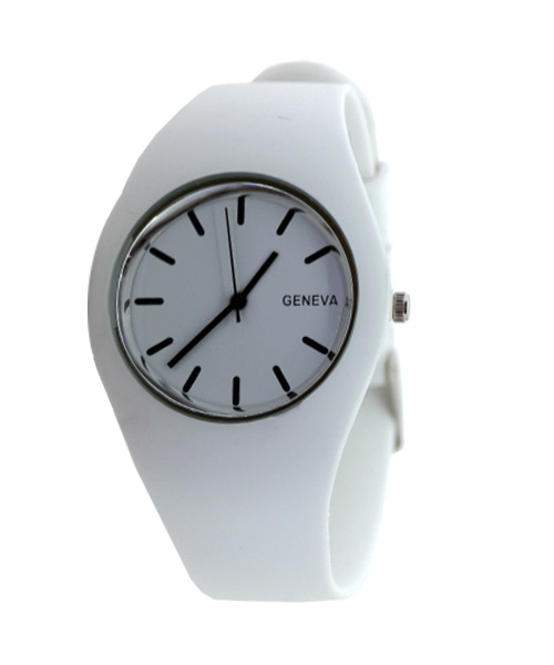 White silicone band girls watch.