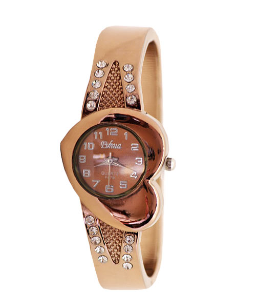 Heart Shaped Rose Gold Bracelet Watch.