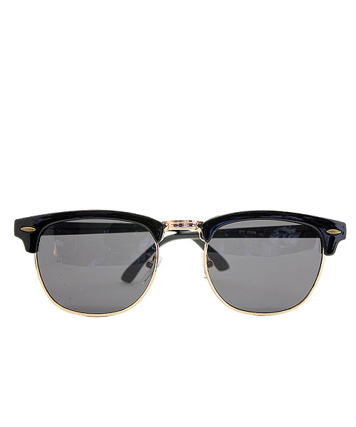 Gold rim black Clubmaster sunglasses.