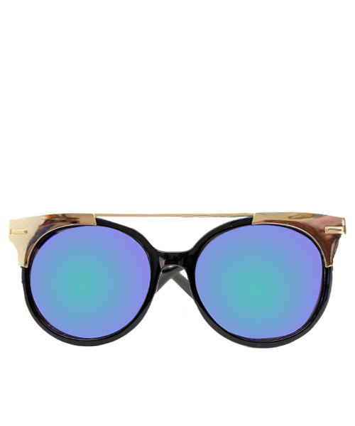 Gold black oval womens sunglasses.