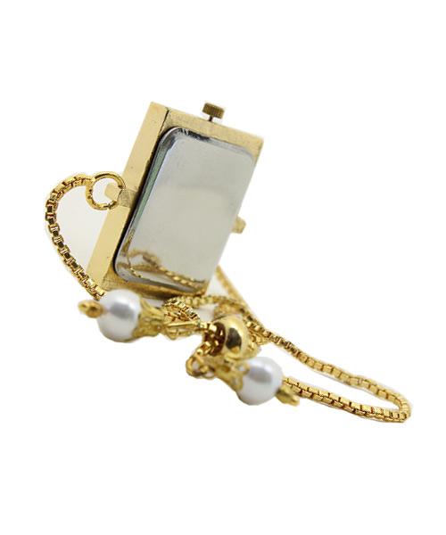 Rectangular gold womens watch chain bracelet.