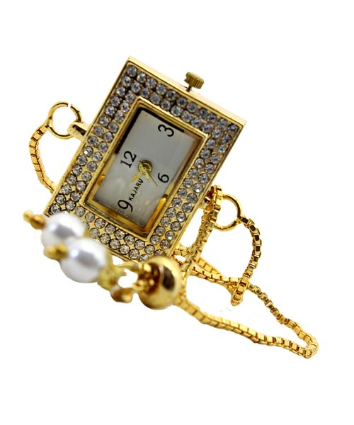 Rectangular gold womens watch chain bracelet.