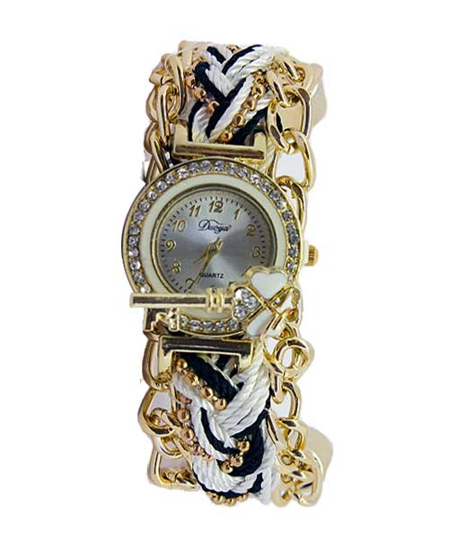 Multi strand coMulti strand cord round gold girls watch.