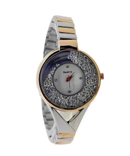 Floating diamonds womens watch rose gold.