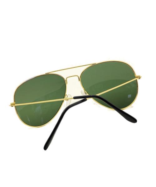Green lens classic aviator sunglasses.