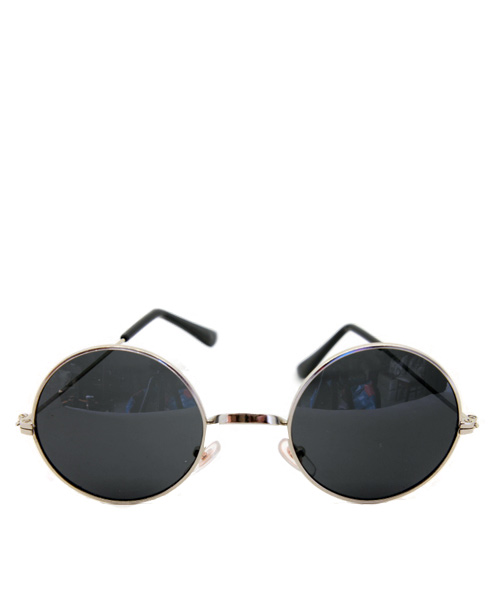 Unisex steel rim dark sunglasses.