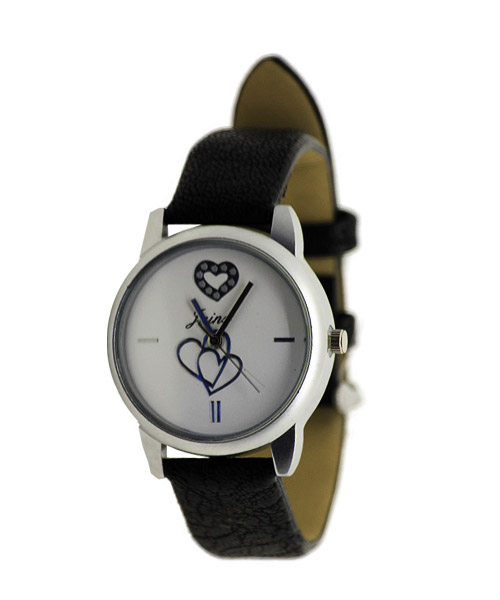 Casual round silver case girls watch.
