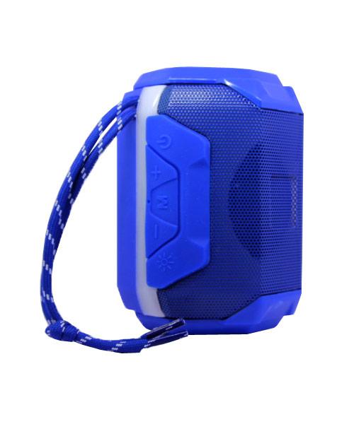 Portable bluetooth wireless blue speaker.
