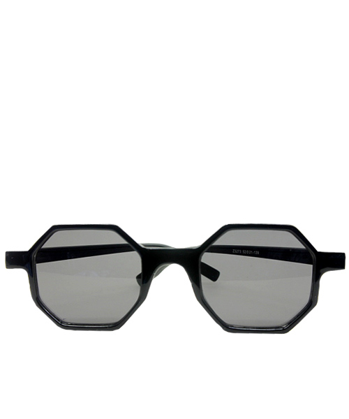 Black Polygon Frame Womens Dark Sunglasses.