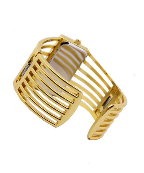 Gold kada rectangle designer womens watch.