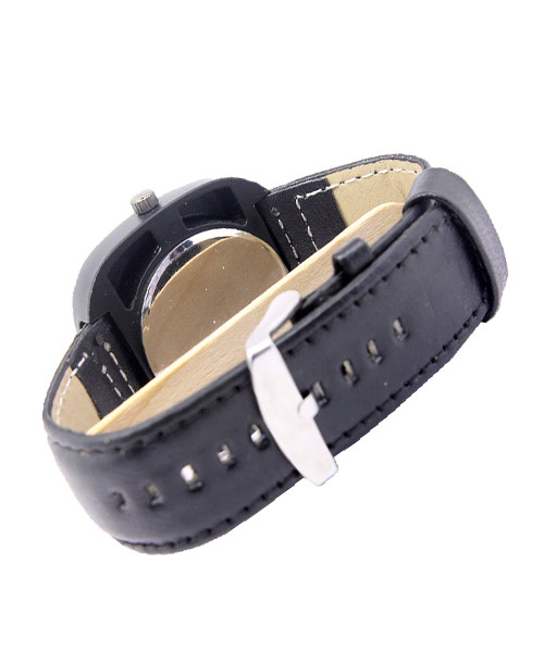 Rotating discs black leather mens watch.