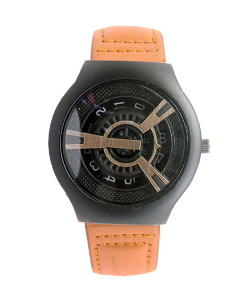Rotating discs tonneau mens leather watch.