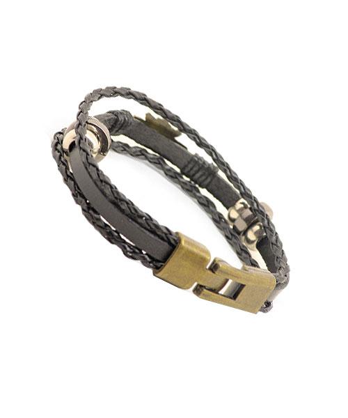 "Bronze ""King"" logo multi-layer braided leather rope bracelet."
