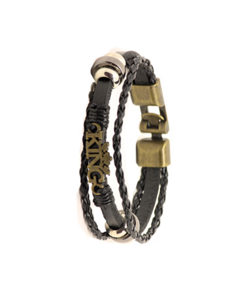 "Bronze ""King"" logo multi-layer braided leather rope bracelet."