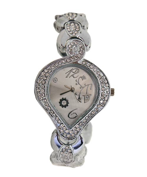 Heart leaf shaped women's silver watch.