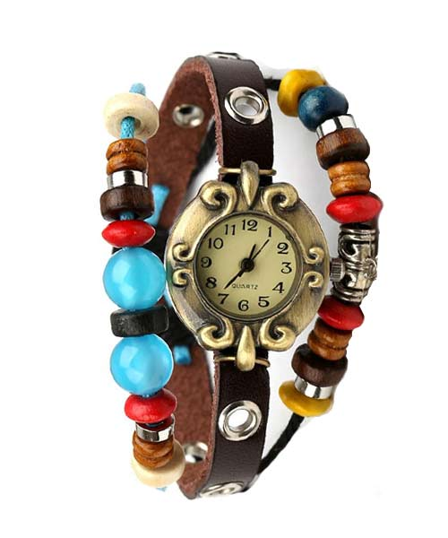 Colourful beaded belt gold alloy girls watch.