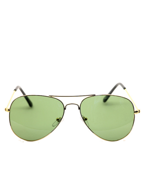 Aviator mens unisex sunglasses green lens wire frame.