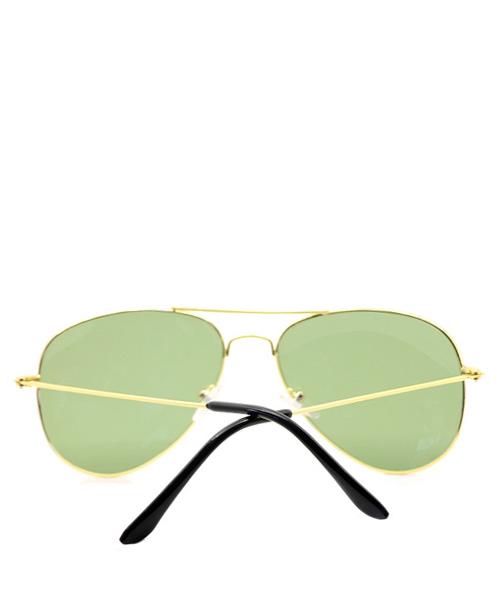 Aviator mens unisex sunglasses green lens wire frame.