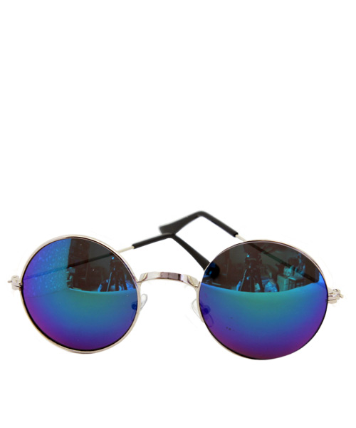 Retro mirrored blue round sunglasses.