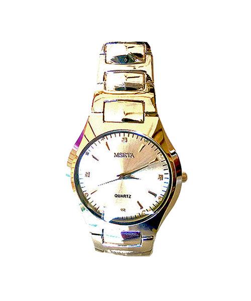 Mseta mens round steel watch.
