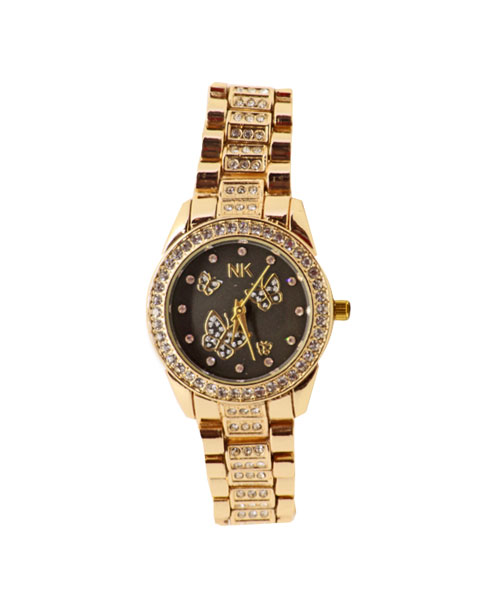 Gold diamond studded girls watch for social gatherings.