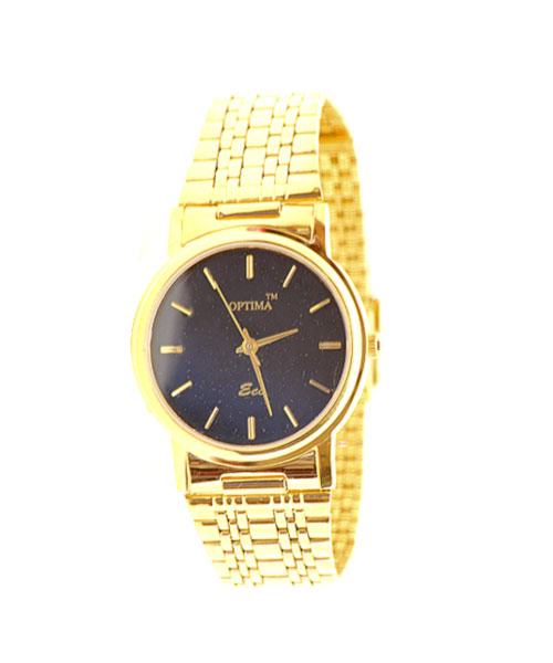 Round gold plated men's watch.