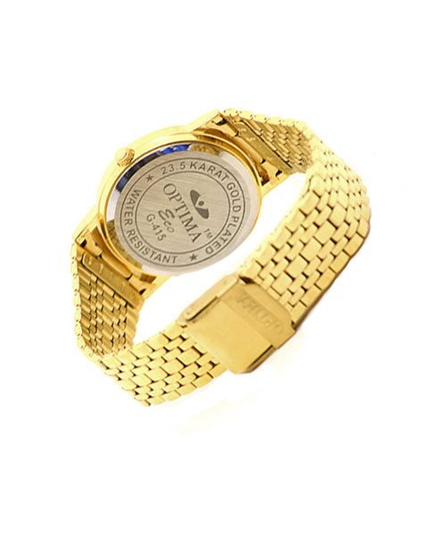 Round gold plated men's watch.
