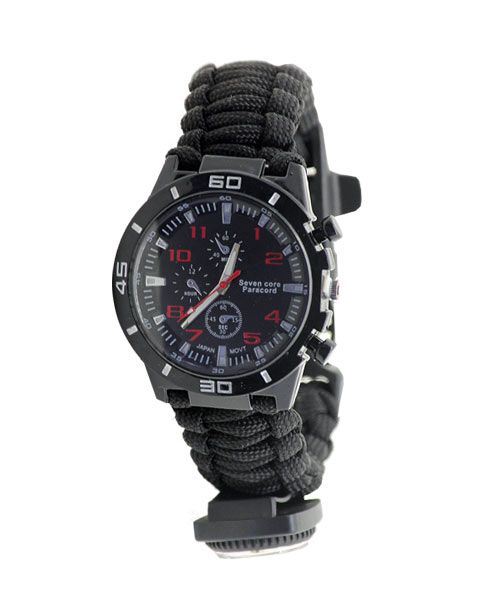 Paracord Survival Watch Bracelet With Compass.