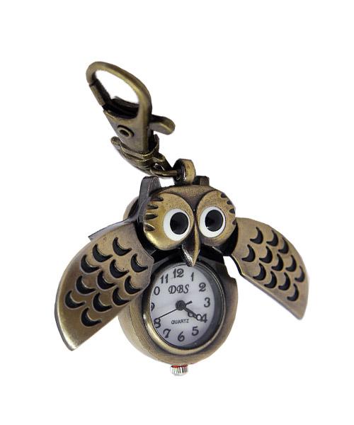 Bronze owl retro keychain watch.